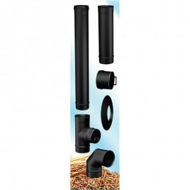 Compleet rookkanaal set voor pelletkachel RVS zwart, Ø80mm premium line
