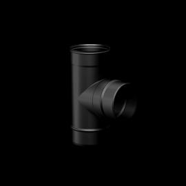 Pelletkachel rookkanaal zwart RVS, Ø100mm premium line, T-stuk 90° vrouwelijk