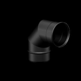 Pelletkachel rookkanaal zwart RVS, Ø100mm premium line, 90° bocht