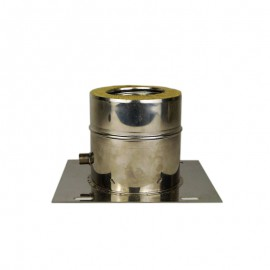 Dubbelwandig rookkanaal RVS, plaat met condensafvoer, diameter Ø130-180