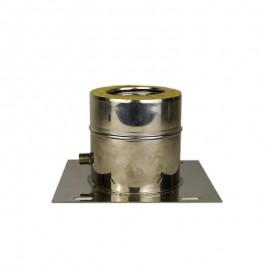 Dubbelwandig rookkanaal RVS, plaat met condensafvoer, diameter Ø 100-150
