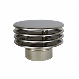 Enkelwandig rookkanaal RVS, trekkende regenkap lamelle, diameter Ø160