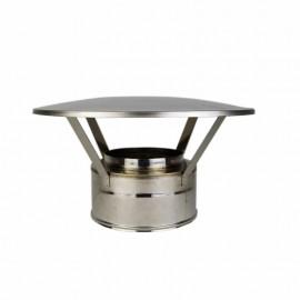 Dubbelwandig rookkanaal RVS, eenvoudige regenkap, diameter Ø400-450