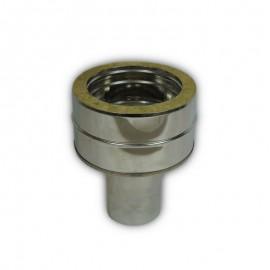 Dubbelwandig rookkanaal RVS, verloopstuk dubbelwandig - enkelwandig, diameter Ø300-350