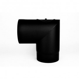 Kachelpijp dikwandig staal, diameter Ø150, 90° hoek, met inspectieluik