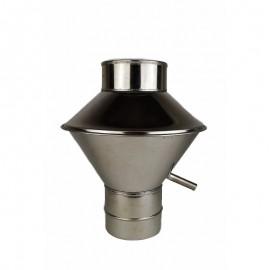Enkelwandig RVS rookkanaal, deflectorkap Ø150mm