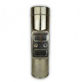 Dubbelwandig rookkanaal RVS, inspectie element met condensafvoer, diameter Ø120/170
