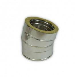 Dubbelwandig geïsoleerd rookkanaal, bocht 5° graden, diameter Ø180/230