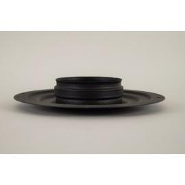 Rozet zwart groot met rookkanaal aansluiting, diameter Ø80mm.
