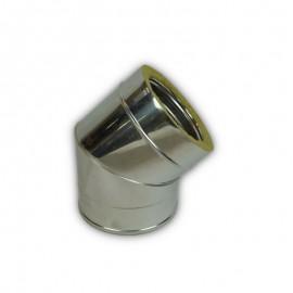 Dubbelwandig rookkanaal RVS, bocht 45° graden, diameter Ø120-170