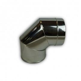 Dubbelwandig rookkanaal RVS, bocht 90° graden, diameter Ø120-170