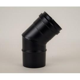 Pelletkachel rookkanaal zwart RVS, 45° bocht, diameter Ø100mm.