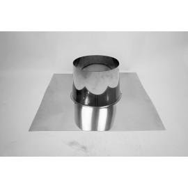 Dubbelwandig rookkanaal RVS, 0°-5° dakplaat plat, diameter Ø130-180