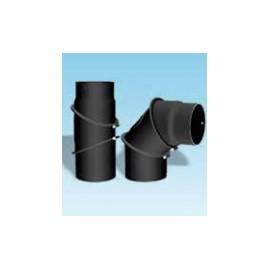Kachelpijp dikwandig staal, diameter Ø180, bocht verstelbaar tot 90°, met inspectieluik