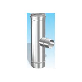 Concentrisch rookkanaal RVS, diameter Ø100-150, T-stuk 90° met rookgas zijuitgang