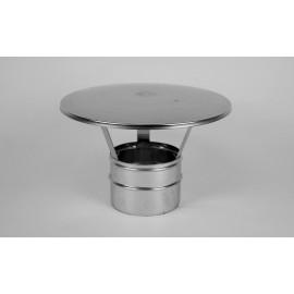 Enkelwandig RVS rookkanaal, eenvoudige regenkap Ø180mm