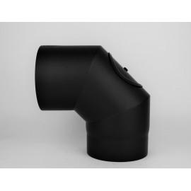 Kachelpijp dikwandig staal, diameter Ø140, 90° bocht, 3 segment, met inspectieluik