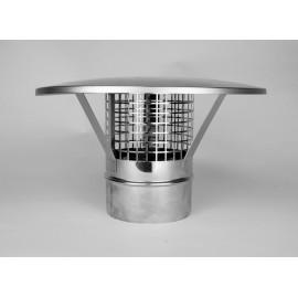 Enkelwandig RVS rookkanaal, eenvoudige regenkap Ø110mm, met vonkengaas