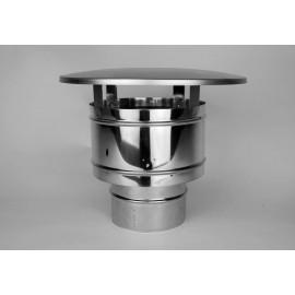 Enkelwandig rookkanaal RVS, trekkende regenkap, diameter Ø160