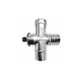 Enkelwandig rookkanaal RVS, T-stuk 90°, met inspectieluik, diameter Ø220 mannelijk