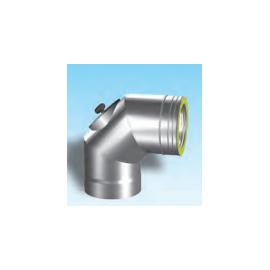 Dubbelwandig rookkanaal RVS, bocht 90° met inspectiedeksel, diameter Ø400/450