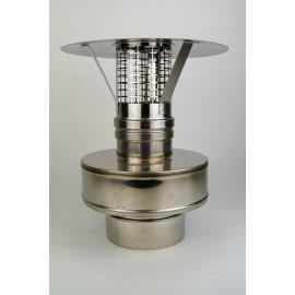 Concentrisch rookkanaal RVS, diameter Ø100-150, eindaansluiting met regenkap