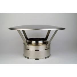 Dubbelwandig rookkanaal RVS, eenvoudige regenkap, diameter Ø100-150