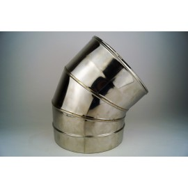 Dubbelwandig rookkanaal RVS, bocht 45° graden 3-segment, diameter Ø400-450