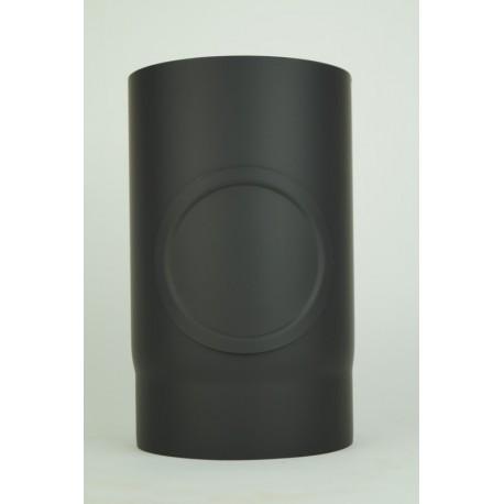 Kachelpijp dikwandig staal, diameter Ø200, 250mm pijp, met inspectieluik
