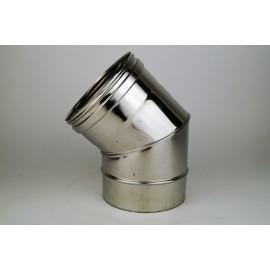 Concentrisch rookkanaal RVS, diameter Ø100-150, 30° bocht