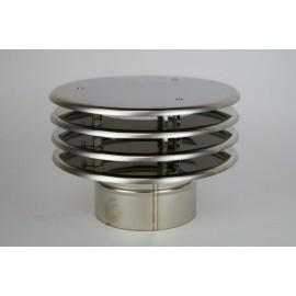 Enkelwandig rookkanaal RVS, trekkende regenkap lamelle, diameter Ø100