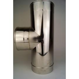 Dubbelwandig rookkanaal RVS, T-stuk 90° graden, diameter Ø350-400
