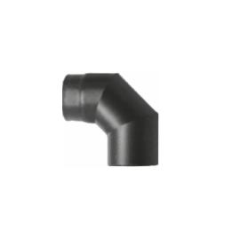 Kachelpijp zwart geëmailleerd staal, bocht 90° graden, diameter Ø120