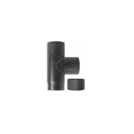 Kachelpijp zwart geëmailleerd staal, T-stuk met deksel, diameter Ø130