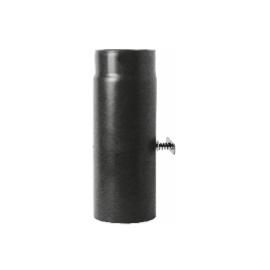 Kachelpijp zwart geëmailleerd staal met smoorklep, 250mm pijp, diameter Ø120