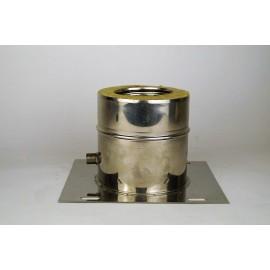 Dubbelwandig rookkanaal RVS, plaat met condensafvoer, diameter Ø80-130