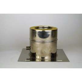 Dubbelwandig rookkanaal RVS, plaat met condensafvoer, diameter Ø300-350