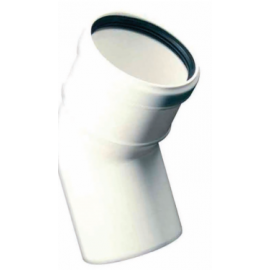 Kunststof rookkanaal, 45° bocht, diameter Ø100mm, wit