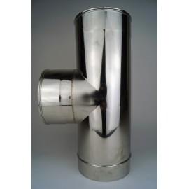 Dubbelwandig rookkanaal RVS, T-stuk 90° graden, diameter Ø100-150