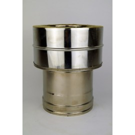 Dubbelwandig rookkanaal RVS, aansluitstuk dubbelwandig - enkelwandig, diameter Ø100-150 (vrouwelijk)
