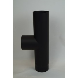Kachelpijp dikwandig staal, diameter Ø120, T-stuk met condensdop