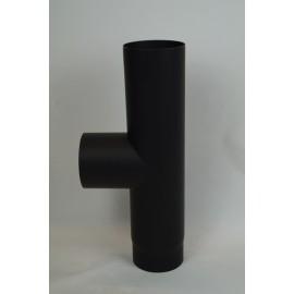 Kachelpijp dikwandig staal, diameter Ø130, T-stuk met condensdop