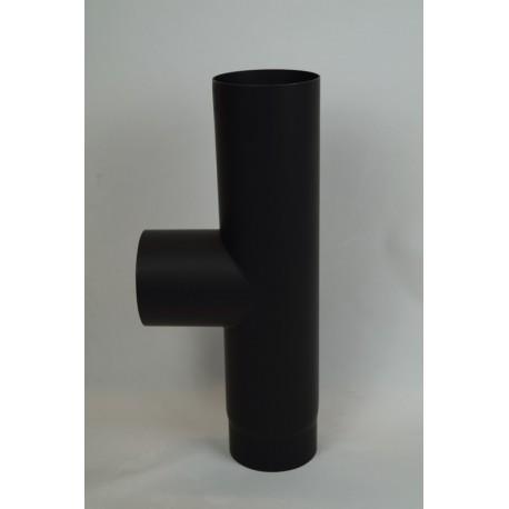 Kachelpijp dikwandig staal, diameter Ø200, T-stuk met condensdop