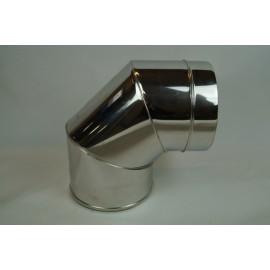 Dubbelwandig rookkanaal RVS, bocht 90° graden, diameter Ø100-150