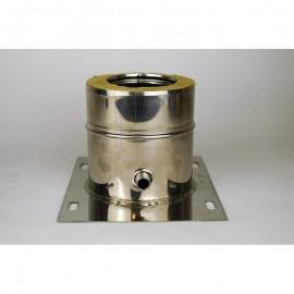 Dubbelwandig rookkanaal RVS, plaat met condensafvoer, diameter Ø160-210