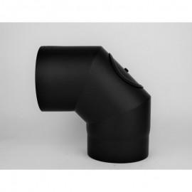 Kachelpijp dikwandig staal, diameter Ø160, 90° bocht, 3 segment, met inspectieluik