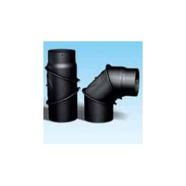 Kachelpijp dikwandig staal, diameter Ø140, bocht verstelbaar tot 90°, met inspectieluik