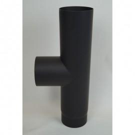 Kachelpijp dikwandig staal, diameter Ø160, T-stuk met condensdop